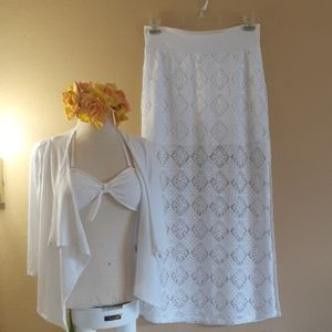 💜New💜 WHITE Solitaire swimsuit coverup skirt M